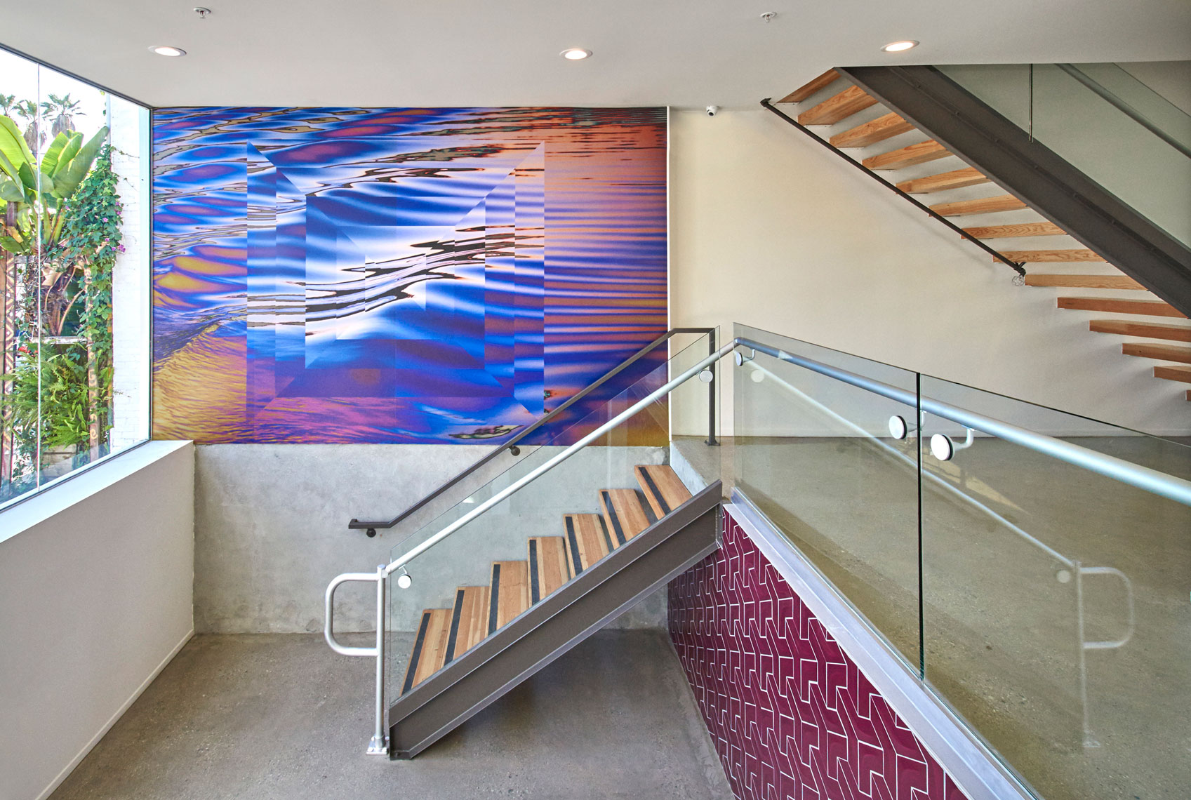 Architectural-photography-of-entry-mural-and-stairway-of-commercial-building-Joe-Atlas-architectural-photographer-Los-Angeles.