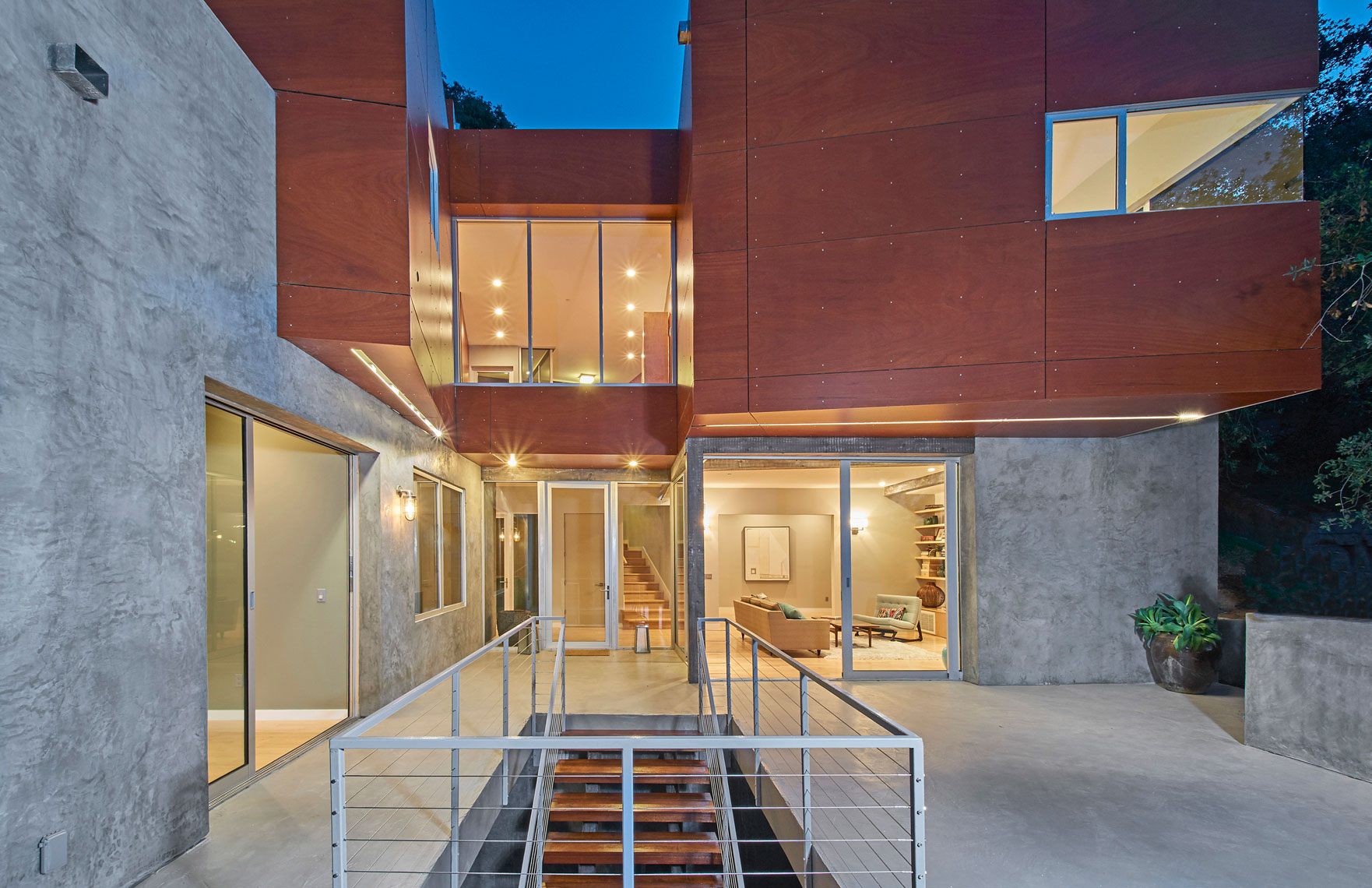 Architectural-photography-of-exterior-twilight-front-view-of-contemporary-home-Joe-Atlas-architectural-photographer-Los-Angeles.