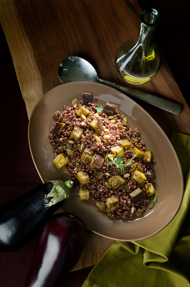 Plated-eggplant-barley-recipe-with-olive-oil-and-herbs-by-Joe-Atlas-food-photography.