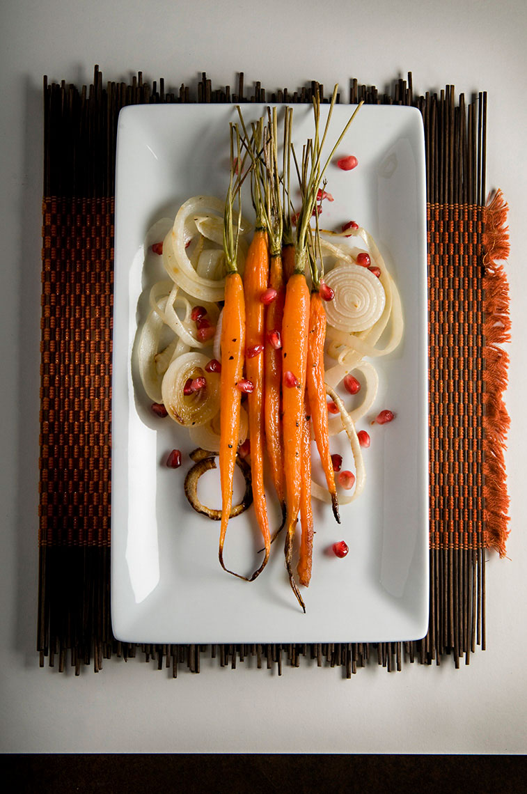 Roasted-onions-and-carrots-with-pomegranet-seeds-by-Joe-Atlas-food-photography.